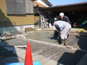 茂原の楽楽屋の駐車場工事 コンクリート打設お手伝い